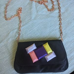 Ted Baker- Satin evening bag with rosegold chain